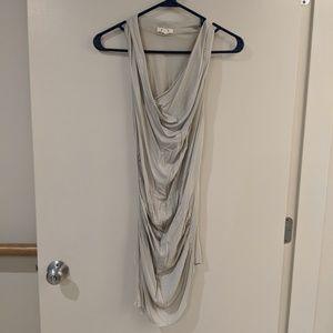 Helmut Lang cowl neck drape tunic top grey small